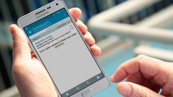 """Provozovatelé zařízení dostávají po zavedení digitální služby """"ConditionAnalyzer"""" zprávy e-mailem, které si mohou jednoduše přečíst na svých mobilních přístrojích."""